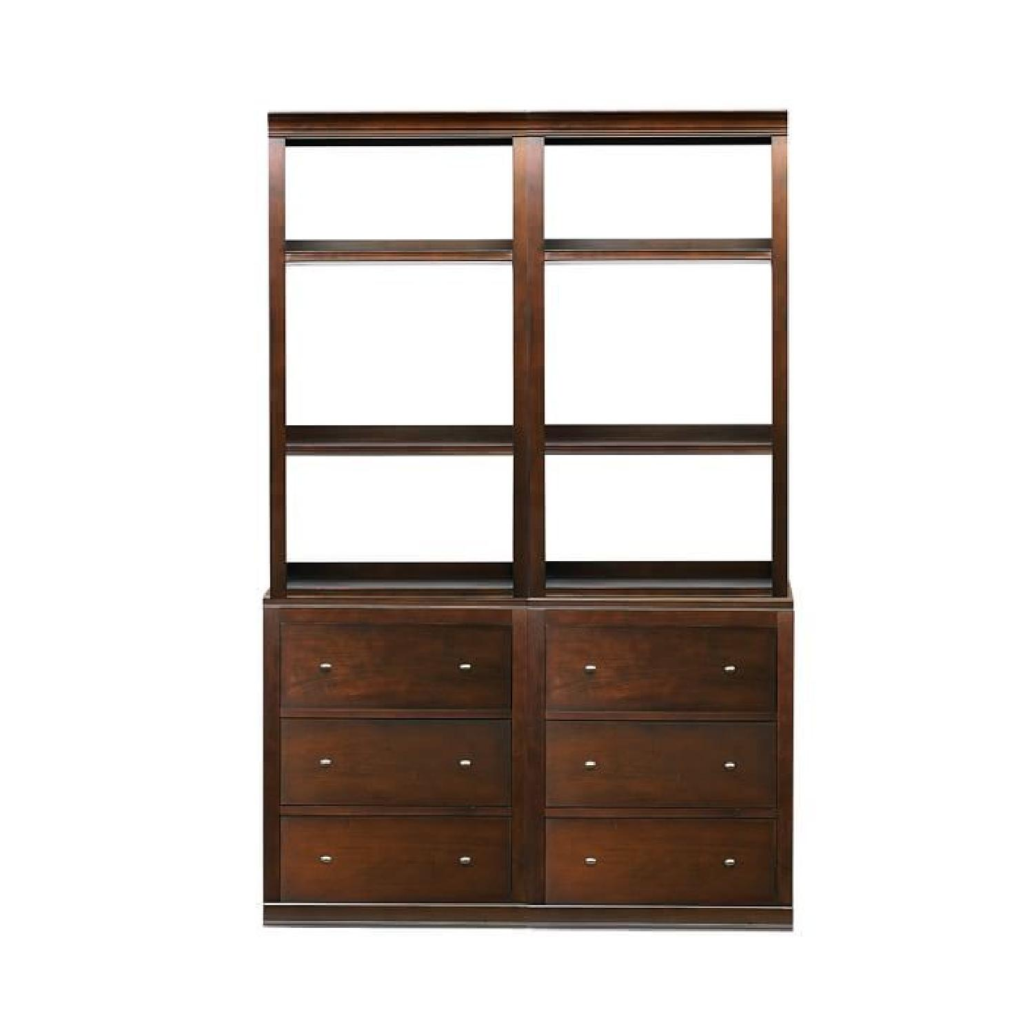 Pottery Barn Logan Bookcases w/ Drawers in Mahogany