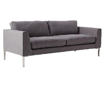West Elm Marco Sofa in Steel Gray Linen Weave