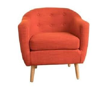 Navaro Button-Tufted Fabric Club Chair in Muted Orange