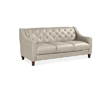 Macy's Beige Leather 3-Seater Sofa