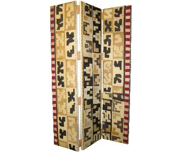 Custom Kuba Cloth Three-Panel Folding Screen