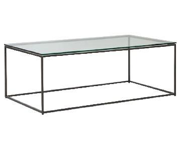 West Elm Glass Streamline Coffee Table