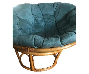 Pier 1 Papasan Chair w/ Teal Blue Cushion