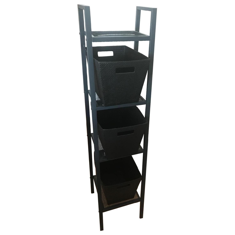 Black Shelving Unit w/ Baskets - image-0