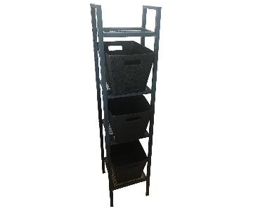 Black Shelving Unit w/ Baskets
