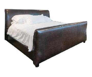 Mitchell Gold + Bob Williams King Leather Sleigh Bed