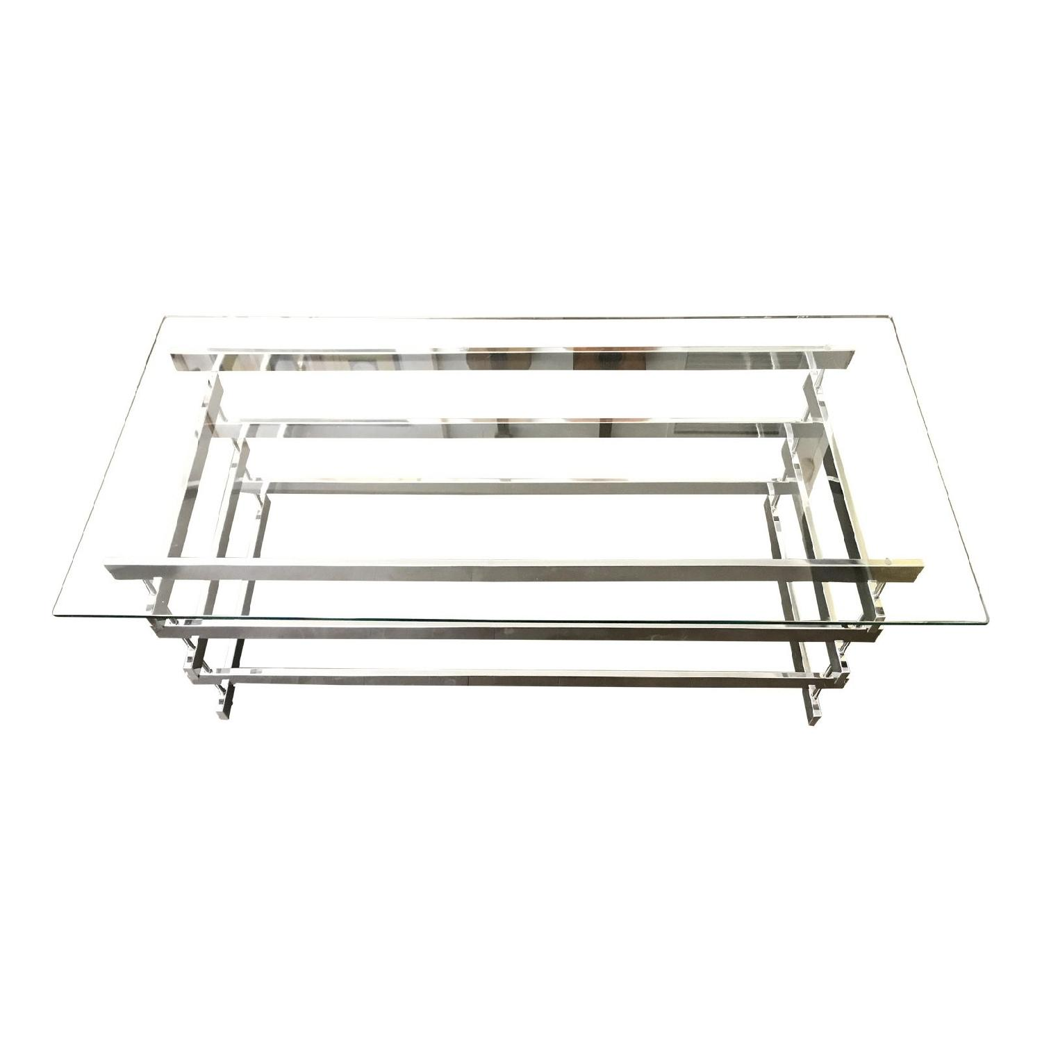 Paul Mayen Style Stacked Chrome & Glass Coffee Table
