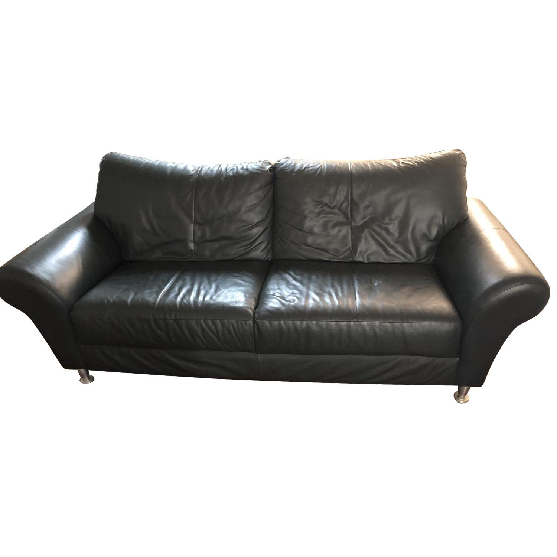 Modern Green Leather Sofa w/ Silver Legs