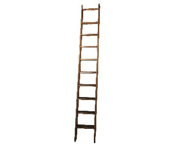 Vintage Wood Rolling Library Ladder