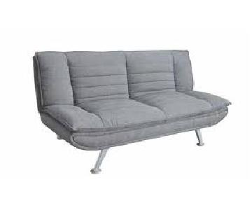 Grey Woven Fabric Sofabed w/ Metal Legs