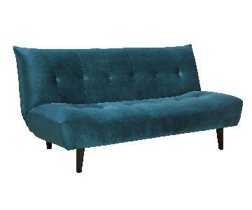 Teal Velvet Sofabed w/ Wood Legs