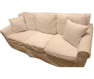 Pottery Barn White Sofa w/ Additional PB Fitted Slipcover