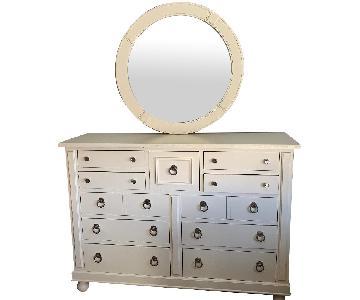 Off-White Dresser w/ Matching Mirror