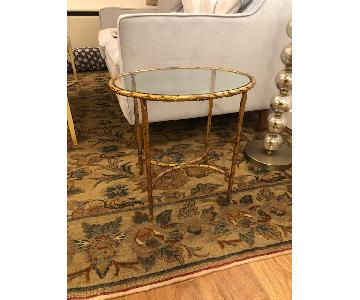 Bronze Oval Side Table w/ Glass Top