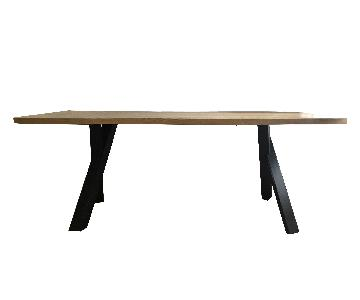 Modern Industrial Japanese Solid Wood Ash Dining Table