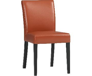 Crate & Barrel Lowe Persimmon Leather Dining Chair