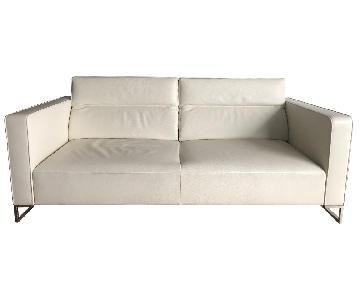 Ligne Roset Urbani White Leather Sofa