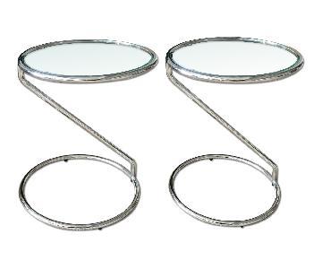 Modern Chrome & Glass Side Tables