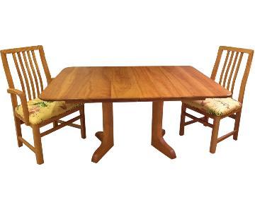 Hardwood Artisan's Century Pedestal Dining Room Table w/ 6 Chairs
