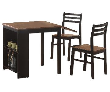 3 Piece Dinette Set w/ Drop Leaf Table & Built-In Storage Shelves