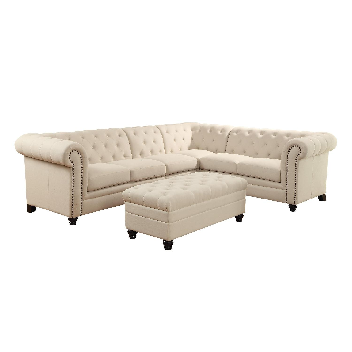 Chesterfield Style Sectional Sofa in Oatmeal Linen Blend Fabric w/ Feather Down Filled Cushions