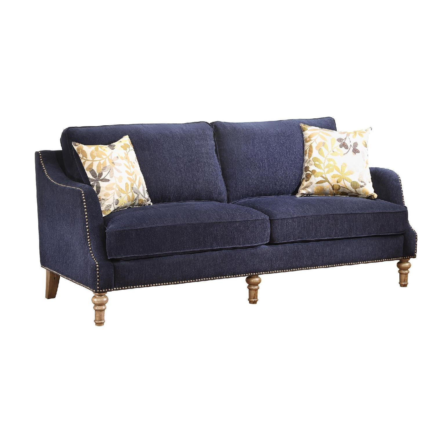 Sofa in Rich Ink Blue Patterned Chenille Fabric w/ Feather Blend Topped Seating & Antique Wood Legs