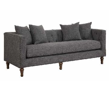 Sofa in Grey Tweed-Like Fabric w/ Tufted Back, Nail-head Trim & Accent Pillows