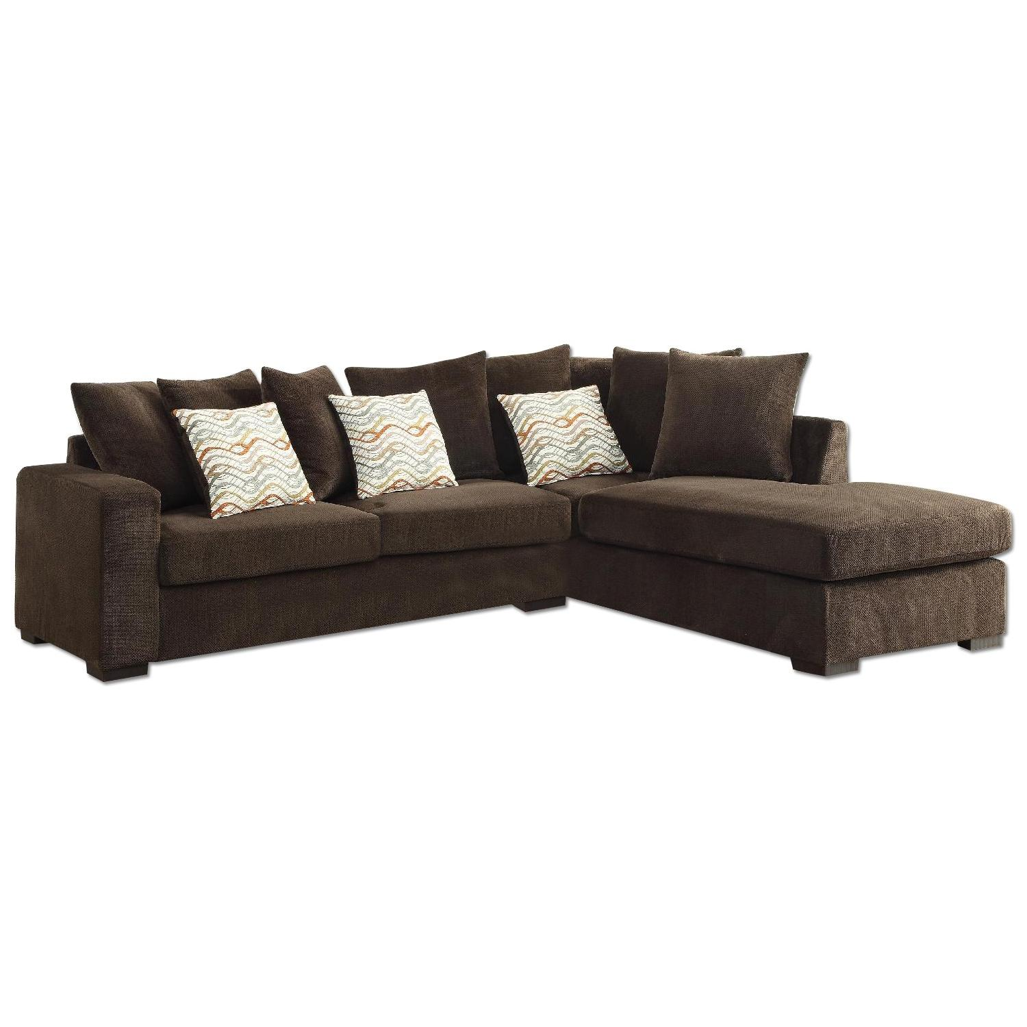 Sectional Sofa w/ Reversible Chaise in Textured Brown Chenile Fabric
