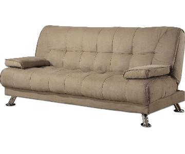 Modern Sofabed w/ Tufted Seat/Back & Removable Armrests in Tan Microfiber