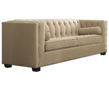 Modern Sofa w/ Tufted Back & Lumbar Pillows in Soft Oak Meal Fabric