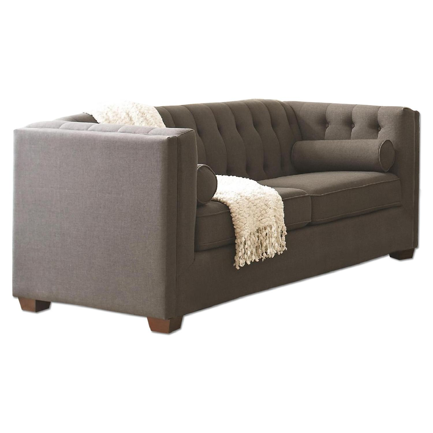 Modern Sofa w/ Tufted Back & Lumbar Pillows in Charcoal Color Fabric