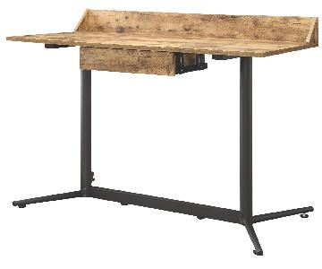 Industrial Style Desk in Antique Nutmeg Top & Black Metal Frame