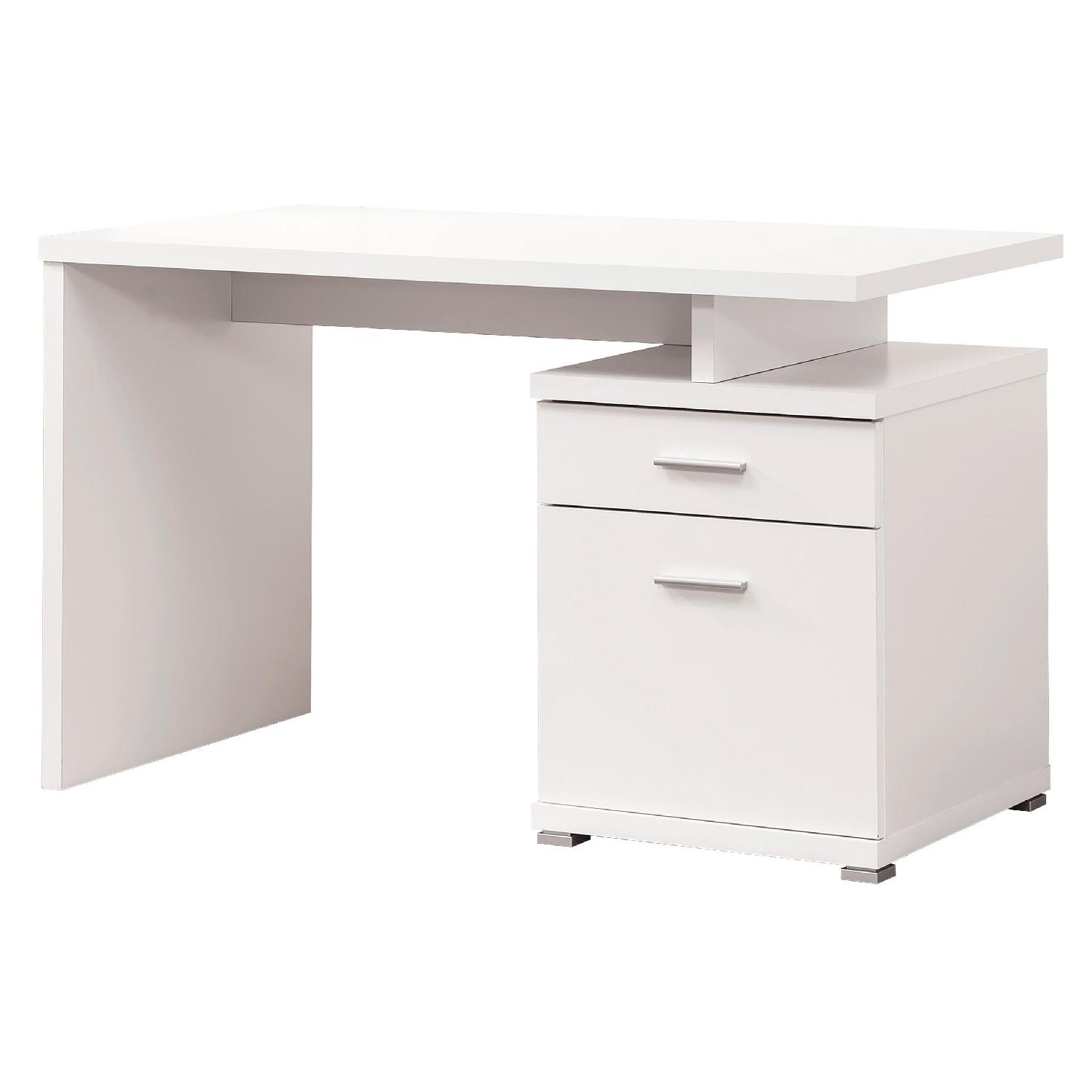 Contemporary Writing Desk w/ Built-in Cabinet in White Finish