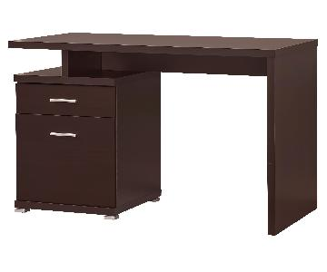 Contemporary Writing Desk With Built-in Cabinet in Cappuccino Finish