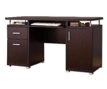 Modern Desk w/ Drawers,Storage Cabinet & Pull-Out Keyboard Tray in Cappuccino Finish