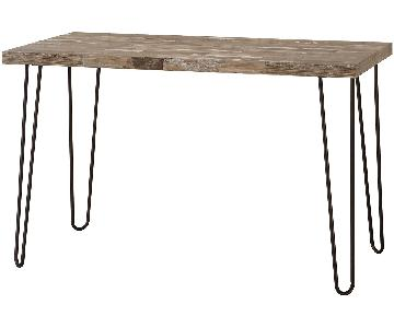 Industrial Style Writing Desk w/ Salvaged Cabin Wood Veneer Top & Black Metal Base
