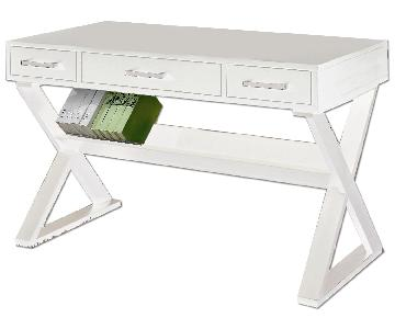 Contemporary Desk With X Base, 3 Drawers & Under Shelf Finished in White