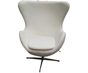 Italian Soft Leather Mid Century Style Chair in White w/ Fiberglass Frame & Aluminum Base