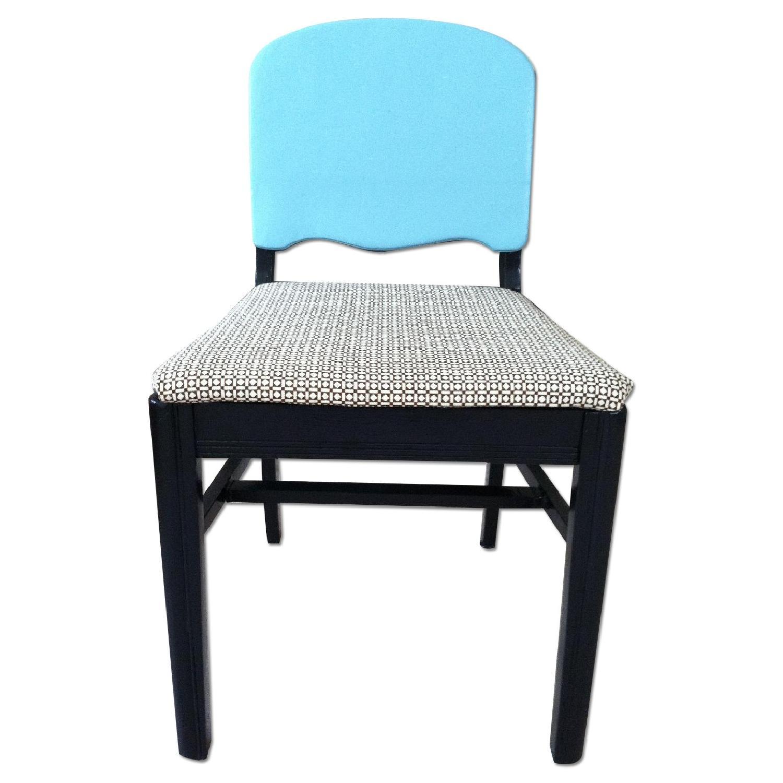 Vintage Black & Blue Accent Chair