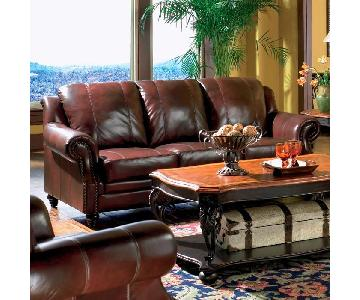 Premium Leather Sofa w/ Rolled Arms,Nailhead Accent & Decorative Moldings