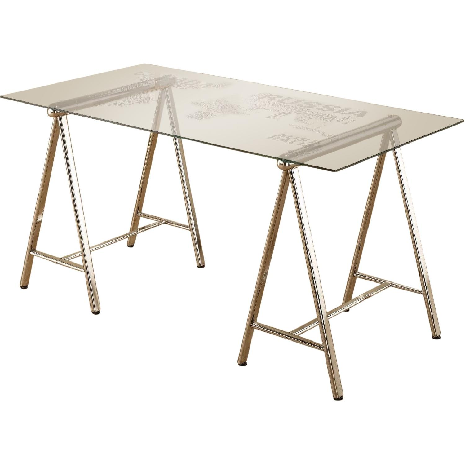 Parallel lines parsons glass dining table aptdeco writing desk w world map printed tempered glass top nickel finished metal legs gumiabroncs Gallery