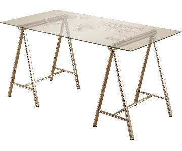 Writing Desk w/ World Map Printed Tempered Glass Top & Nickel Finished Metal Legs