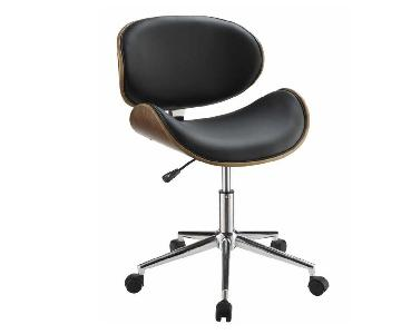 Mid Century Style Office Chair in Black Leatherette w/ Walnu