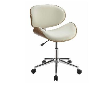 Mid Century Style Office Chair in Cream Leatherette w/ Walnu