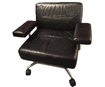 Keilhauer Black Leather Jet Lounge Armchair