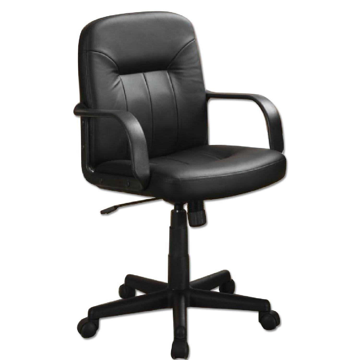 Office Chair in Leather-like Vinyl w/ Arm Rests - image-0