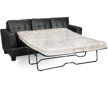 Queen Sleeper Sofa in Black Bonded Leather