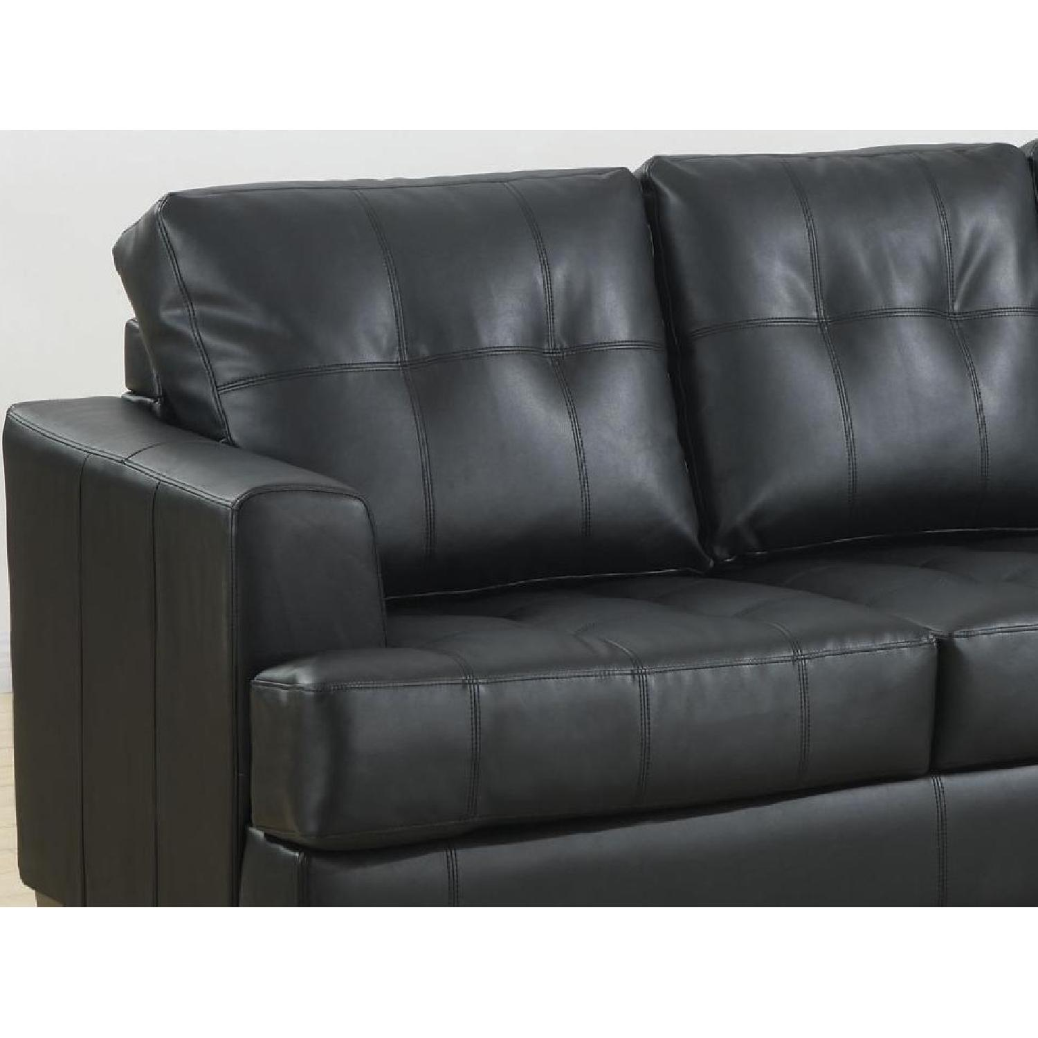 Black Bonded Leather Sofa W/ Tufted Seat U0026 Back