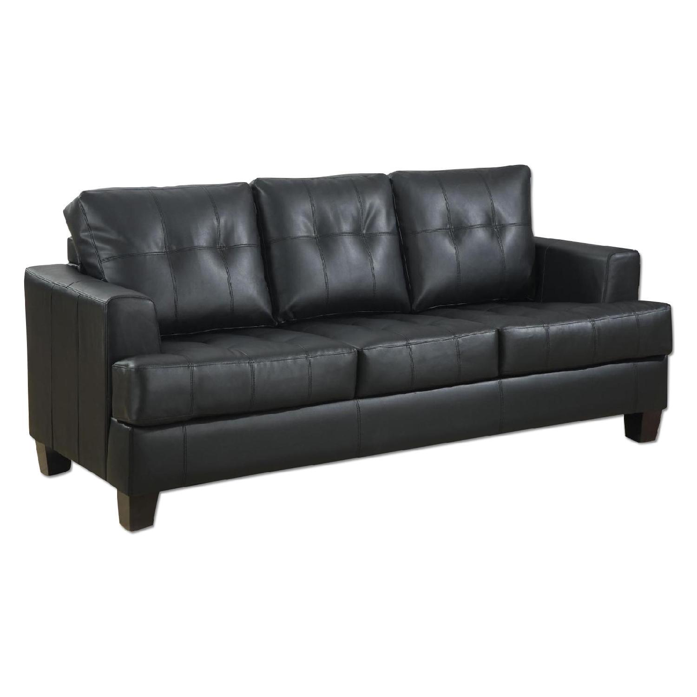 Black Bonded Leather Sofa w/ Tufted Seat & Back