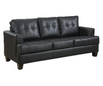 Black Bonded Leather Sofa w/ Tufted Seat & Back